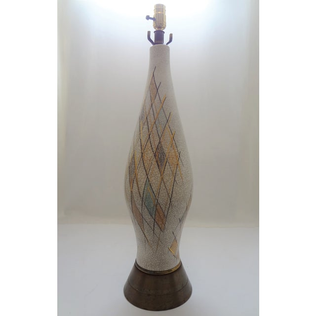 Mid-Century Modern Tall Crackle Ceramic Table Lamp For Sale - Image 10 of 10