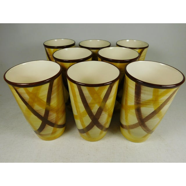 Mid-Century Modern Vernonware Plaid Pottery Tumblers- Set of 8 For Sale - Image 3 of 8