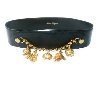 Salvatore Ferragamo Italy Stylish Gilt Metal Charm Belt C 1980s For Sale