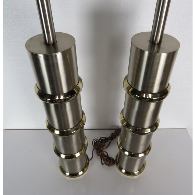 Vintage Mid-Century Modern Chrome & Brass Cylinder Lamps - a Pair For Sale In Chicago - Image 6 of 13