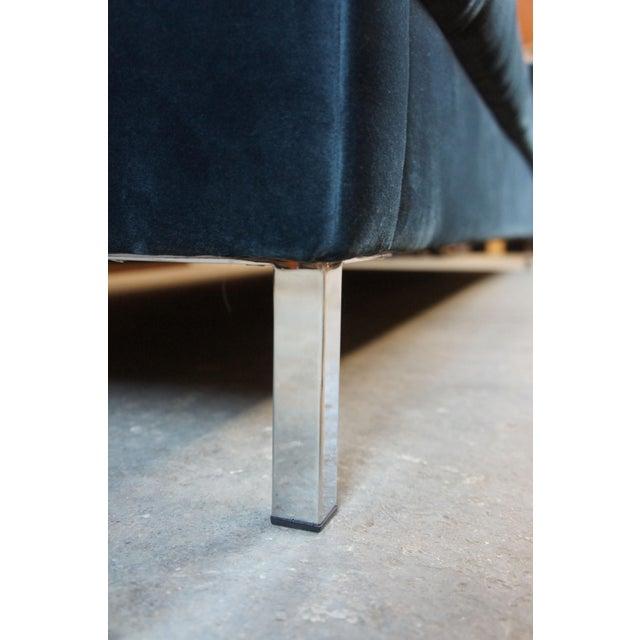 Blue Tufted Modern Velvet Upholstered Sofa For Sale - Image 4 of 13