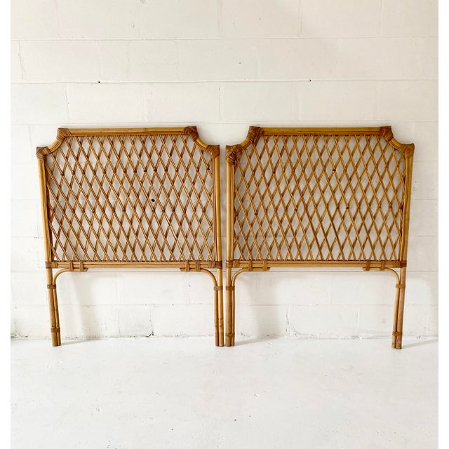 Boho Chic Vintage Rattan Headboards- a Pair For Sale - Image 3 of 13