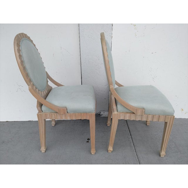 Art Deco John Hutton Vintage, Fluted Wood, Oval Backed Side Chairs - a Pair For Sale - Image 3 of 9