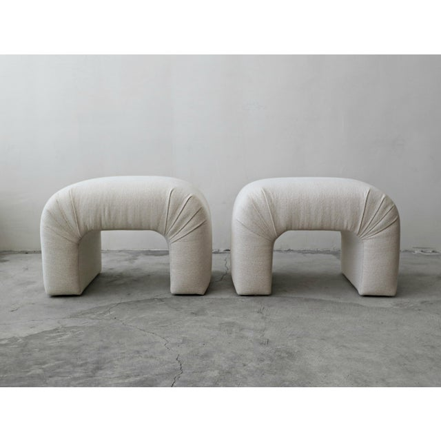 Rare pair of oversized waterfall style ottomans that could also be used as stools. Minimal yet functional. Ottomans have...