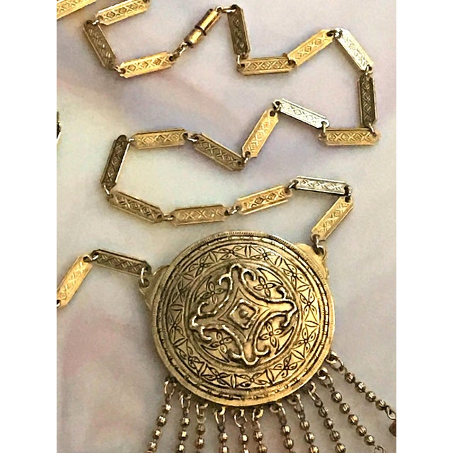 Asian Vintage Accessocraft Medallion Dangle Egyptian Revival Statement Necklace For Sale - Image 3 of 6