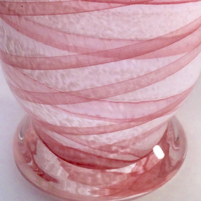 Murano Salmon & White Vase For Sale - Image 6 of 7