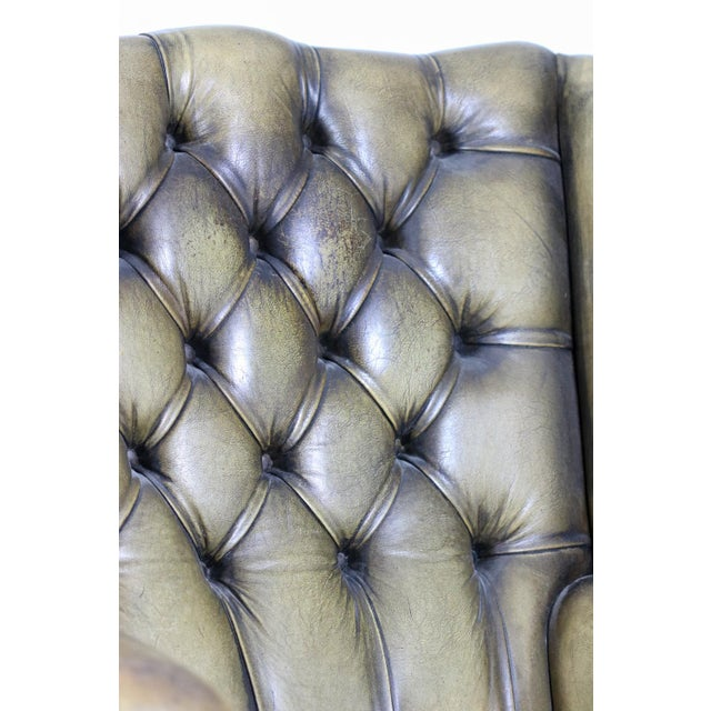 Late 19th Century Mahogany and Original Tufted Green Leather Wing Chair For Sale - Image 12 of 13