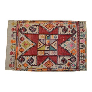 Turkish Kilim Rug Hand-Woven Antique Area - Wall Rug - 3′7″ X 5′8″ For Sale