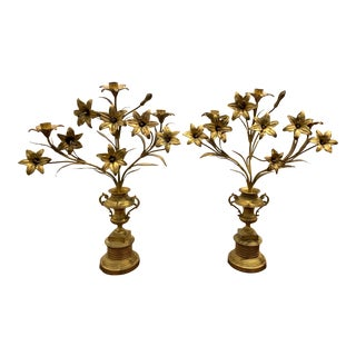 1910's Girandoles 3 Candle Bronze With Lilies in Urn - a Pair For Sale