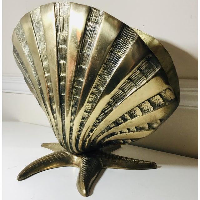 1980s Vintage Brass Seashell Vase Chairish