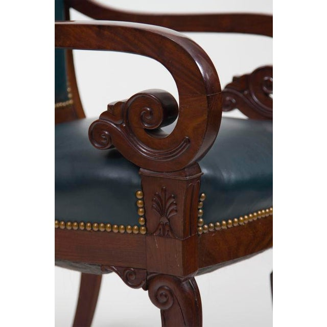 Antique Mahogany & Leather French Arm Chairs - Set of 6 For Sale - Image 4 of 6