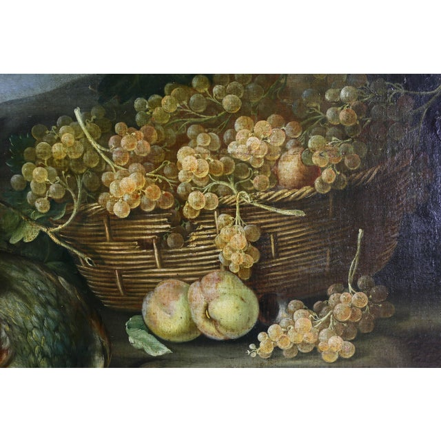 Blue Large Flemish Oil on Canvas of Peacocks and Fruit in Landscape For Sale - Image 8 of 11
