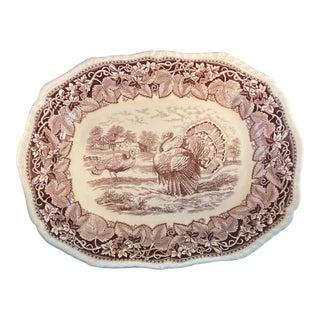 1930's English Mason's Ironstone Vista Brown Oval Turkey Serving Platter For Sale