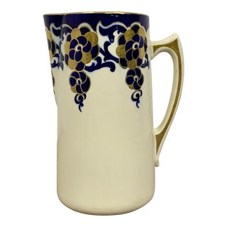 French Blue White and Gold Pottery Ceramic Pitcher For Sale
