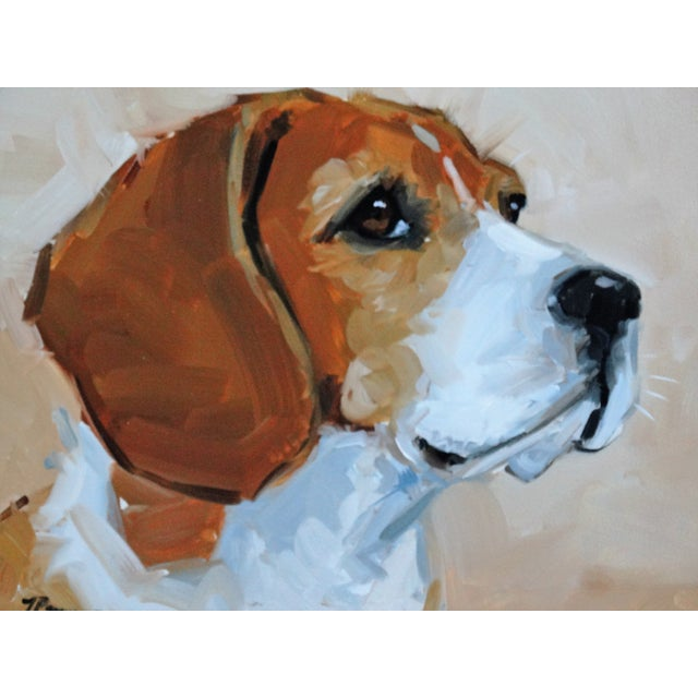 Beagle Dog Oil on Canvas Portrait Painting - Image 3 of 7