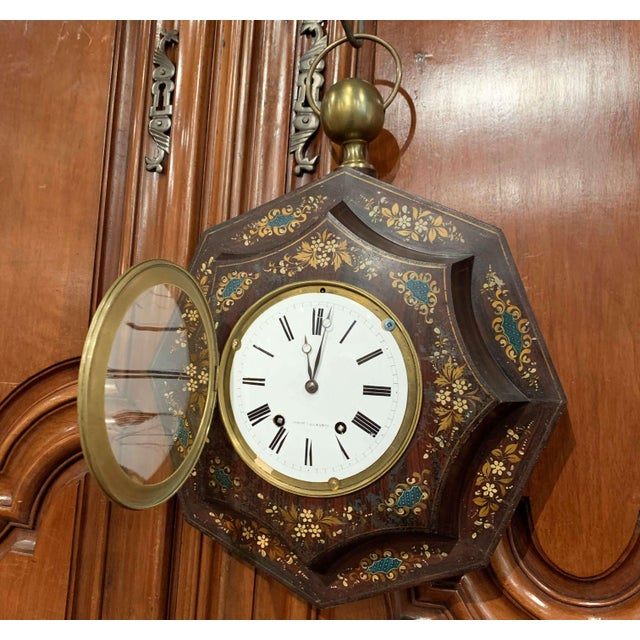 Mid 19th Century 19th Century, French Napoleon III Black and Gilt Painted Tole Wall Clock For Sale - Image 5 of 13
