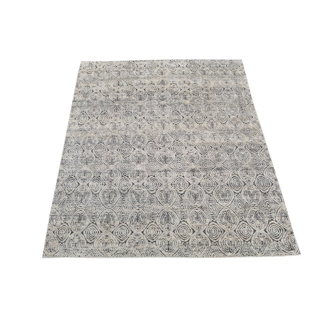 "Moroccan Style Black and White Wool Rug - 7'11""x9'8"" For Sale"