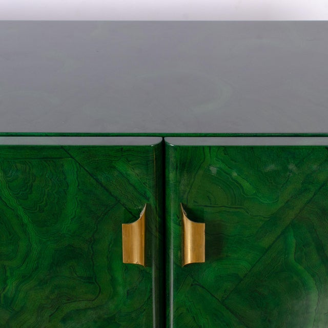 1970s 1970s Italian Malachite Lacquer Sideboard For Sale - Image 5 of 12