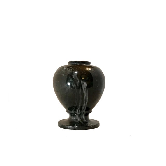 Beautiful hand etched black marble with a few wisps of gray variegation, vase. Featuring a large peony flower and two...