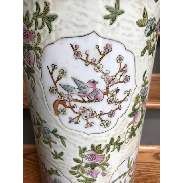 Chinoiserie Chinoiserie Pink Umbrella Stand For Sale - Image 3 of 5