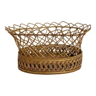 Woven Brass Cachepot For Sale