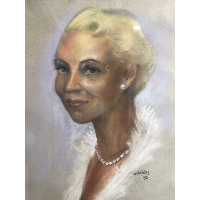 Mid-Century Portrait of Woman Wearing Pearls, Signed 1956 For Sale In Los Angeles - Image 6 of 8