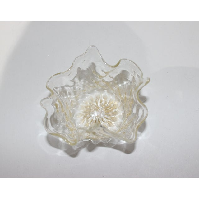 Petit Murano Glass Free Form Bowl Gold Flecked For Sale In West Palm - Image 6 of 11