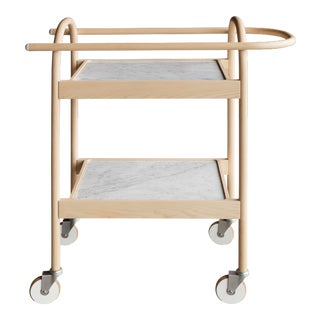 U3 Bar Cart / Serving Trolly in Ash & White Carrara Marble For Sale