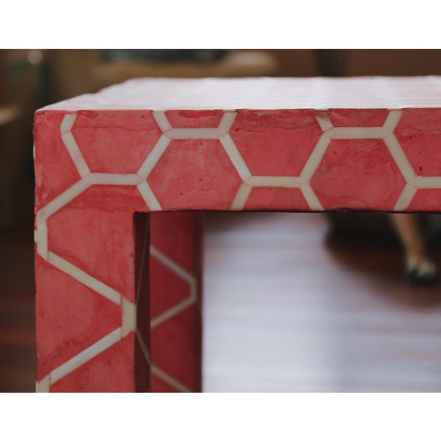 Art Nouveau Antique Pink Clay Bone Inlay Honeycomb Side Table For Sale - Image 3 of 9