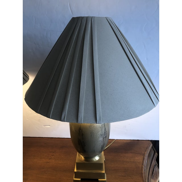 1970s Enameled Brass Table Lamps - a Pair For Sale - Image 5 of 10