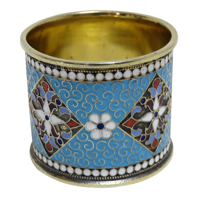 Antique Russian Silver Enameled Napkin Ring For Sale