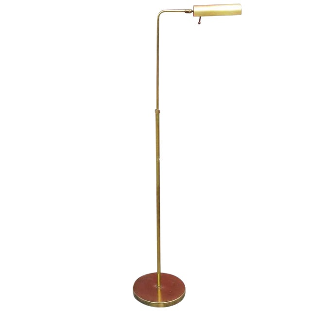 Cylinder form brass reading floor lamp by casella chairish for Casella brass floor lamp