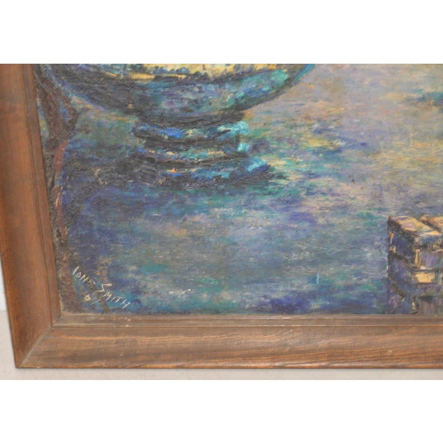 Mid 20th Century Mid Century Illuminated Fountain at Dusk Oil Painting by Ione Smith C.1967 For Sale - Image 5 of 9