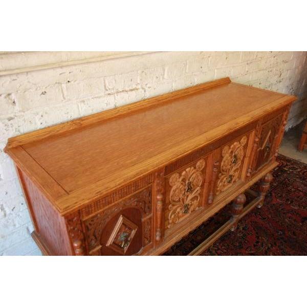 Antique Spanish Revival Oak Sideboard Buffet - Image 6 of 8