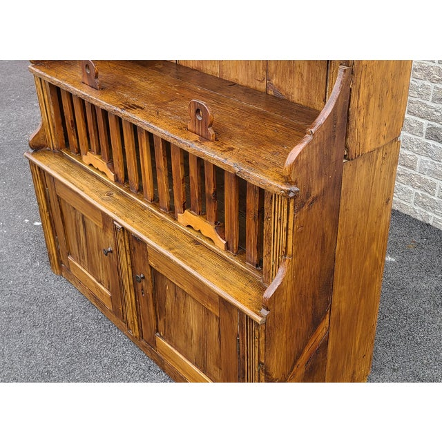 Antique 19th Century Irish Pine 2 Part Chicken Coop Cupboard Cabinet Hutch For Sale In New York - Image 6 of 13