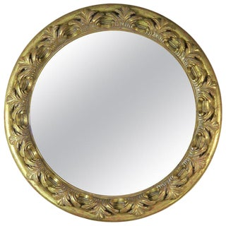 Spanish Carved Giltwood Round Shaped Mirror For Sale