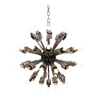 1960's Mid-Century Modern Chrome Sputnik Starburst Chandelier For Sale