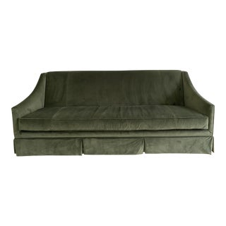 Green Velvet Custom Slope Arm Sofa For Sale