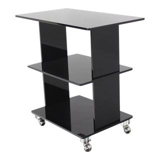 Mid-Century Modern Smoked Lucite Rolling Cart Serving Table For Sale
