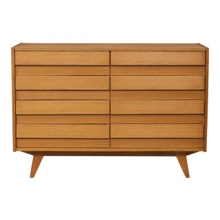 1960s Mid-Century Modern Jiri Jiroutek for Interier Praha 8-Drawers Oak Chest For Sale