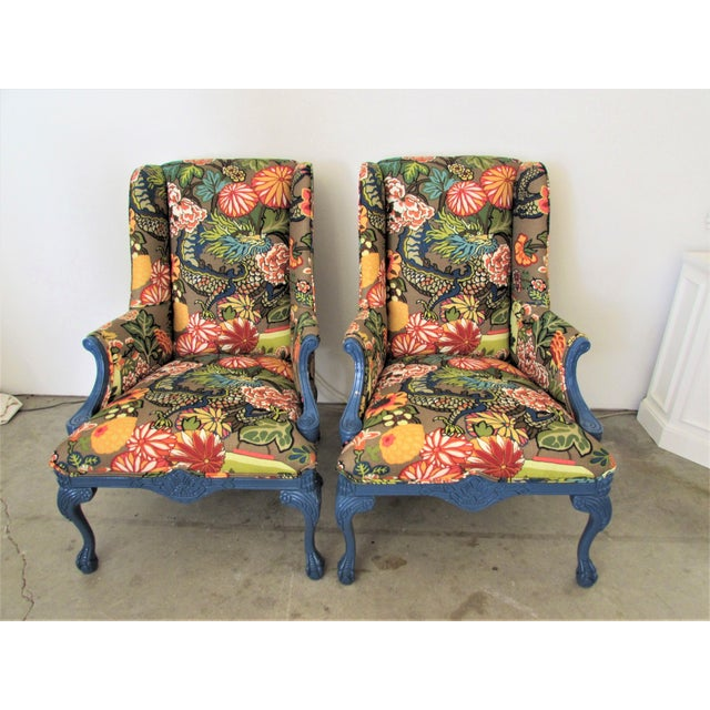 Textile Pair of English Lacquered Georgian Style Gainsborough Armchairs For Sale - Image 7 of 11