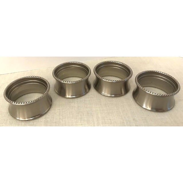 Traditional Late 20th Century Vintage Stainless Steel Napkin Rings - Set of 4 For Sale - Image 3 of 7