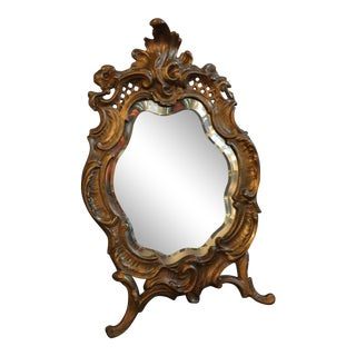 1800s Antique Louis XV Style French Vanity Mirror For Sale