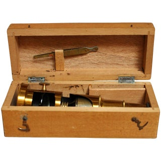 Early 20th Century Brass Field Microscope With Case For Sale