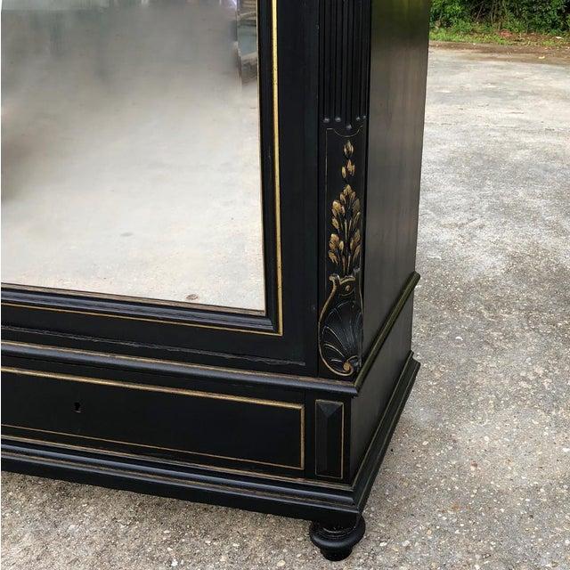 19th Century French Napoleon III Ebonized Armoire For Sale - Image 11 of 13