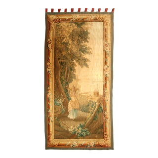 Antique Green & Tan Flemish Tapestry