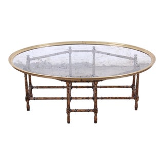 Baker Furniture Hollywood Regency Chinoiserie Faux Bamboo, Brass, and Glass Cocktail Table For Sale