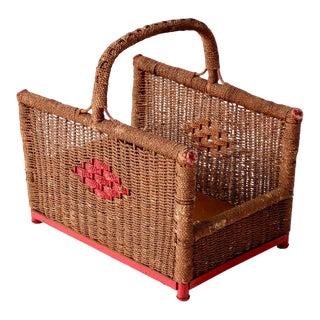 Antique Folk Art Storage Basket For Sale