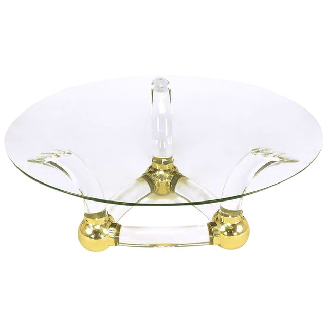 Round Coffee Table With Thick Curved Lucite & Brass Ball Base For Sale