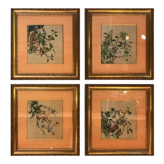 Antique 1800s Chinese Watercolor Paintings - Set of 4